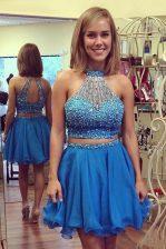 Suitable Halter Top Beading Dress for Prom Blue Zipper Sleeveless Knee Length