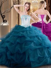 Deluxe Sleeveless Lace Up Floor Length Embroidery and Ruffled Layers Sweet 16 Dresses