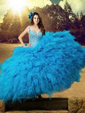 Graceful Straps Sleeveless Quinceanera Gowns Floor Length Beading and Ruffles Baby Blue Tulle