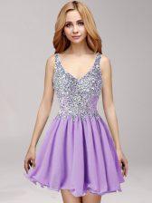 Elegant A-line Prom Party Dress Lavender Straps Chiffon Sleeveless Mini Length Side Zipper