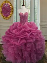 Clearance Sleeveless Floor Length Beading and Ruffles Lace Up Quinceanera Gown with Lilac