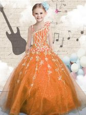 Orange Sleeveless Floor Length Appliques Lace Up Little Girl Pageant Dress