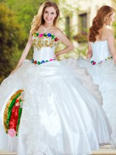 Nice White Lace Up 15 Quinceanera Dress Beading and Appliques and Ruffles Sleeveless Floor Length