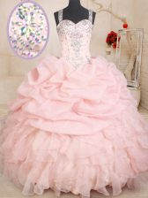 Straps Pick Ups Floor Length Ball Gowns Sleeveless Baby Pink Quinceanera Dress Zipper