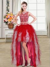 Red Zipper Scoop Beading and Ruffles Prom Party Dress Tulle Sleeveless