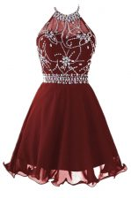 Customized Knee Length Backless Burgundy for Prom and Party with Beading