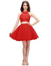 Coral Red Organza Zipper High-neck Sleeveless Mini Length Dress for Prom Beading