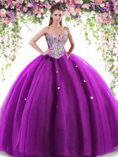 Elegant Sleeveless Tulle Floor Length Lace Up Sweet 16 Quinceanera Dress in Eggplant Purple with Beading
