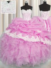 Superior Pick Ups Pink Sleeveless Organza Lace Up 15th Birthday Dress for Military Ball and Sweet 16 and Quinceanera