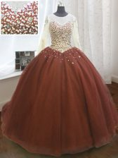 Stylish Scoop Burgundy Long Sleeves Beading and Sequins Lace Up Quinceanera Gowns