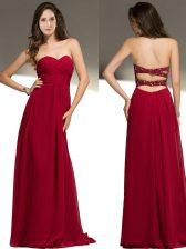 Pretty Red Empire Sweetheart Sleeveless Chiffon Floor Length Criss Cross Beading Homecoming Dress