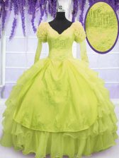 Designer V-neck Sleeveless Lace Up Sweet 16 Dresses Yellow Green Organza