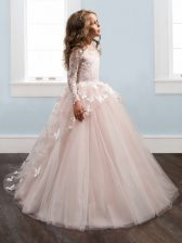 Scoop Long Sleeves Brush Train Lace and Appliques Zipper Child Pageant Dress