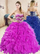 Fitting Fuchsia Ball Gowns Sweetheart Sleeveless Organza Floor Length Lace Up Beading and Ruffles 15th Birthday Dress