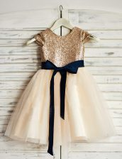 Noble Scoop Sashes ribbons and Sequins Flower Girl Dresses for Less Champagne Zipper Sleeveless Mini Length