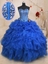 Classical Royal Blue Ball Gowns Organza Sweetheart Sleeveless Beading and Ruffles Floor Length Lace Up Sweet 16 Dresses