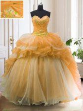 Fabulous Sweetheart Sleeveless Sweet 16 Dress With Train Sweep Train Beading and Ruffled Layers Orange Organza