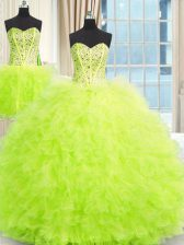 On Sale Three Piece Strapless Neckline Beading and Ruffles Quinceanera Dresses Sleeveless Lace Up
