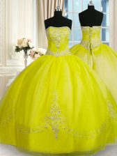 Dazzling Floor Length Ball Gowns Sleeveless Yellow Green 15 Quinceanera Dress Lace Up