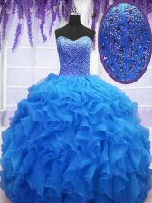 Royal Blue Sleeveless Organza Lace Up Quinceanera Gown for Military Ball and Sweet 16 and Quinceanera