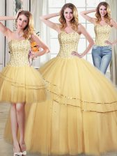 Three Piece Floor Length Gold Quince Ball Gowns Tulle Sleeveless Beading and Sequins
