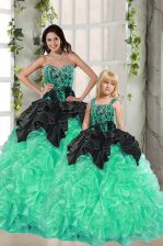 Floor Length Apple Green Quinceanera Dress Sweetheart Sleeveless Lace Up