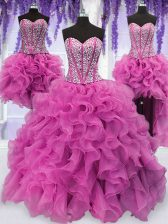 Ideal Four Piece Lilac Ball Gowns Ruffles and Sequins Sweet 16 Dresses Lace Up Organza Sleeveless Floor Length
