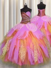 High End Multi-color Tulle Lace Up Sweetheart Sleeveless Floor Length Quinceanera Dresses Beading and Ruching