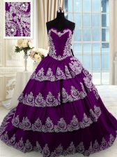 Sleeveless Taffeta With Train Court Train Lace Up Sweet 16 Dresses in Purple with Beading and Appliques and Ruffled Layers