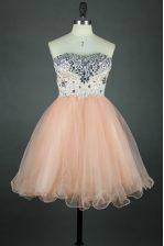 Suitable Tulle Sleeveless Knee Length Homecoming Dress and Sashes ribbons