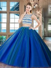 Scoop Beading Ball Gown Prom Dress Royal Blue Backless Sleeveless Floor Length