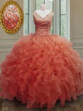 Orange Red Sleeveless Beading and Ruffles Floor Length Sweet 16 Dress