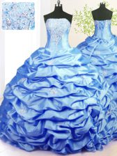 Classical Baby Blue Taffeta Lace Up Strapless Sleeveless With Train Vestidos de Quinceanera Sweep Train Beading and Pick Ups