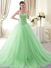 Sleeveless Tulle With Brush Train Lace Up Sweet 16 Quinceanera Dress in Apple Green with Beading