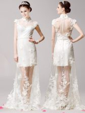 Fabulous White Tulle Clasp Handle Prom Evening Gown Cap Sleeves With Brush Train Lace and Appliques