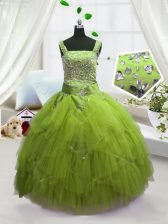 Custom Designed Straps Sleeveless Lace Up Little Girl Pageant Gowns Yellow Green Tulle