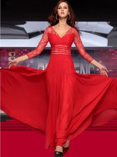 Floor Length Column/Sheath Sleeveless Red Prom Dresses Zipper