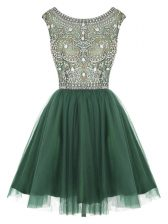 Scoop Mini Length Peacock Green Prom Party Dress Tulle Sleeveless Beading and Appliques