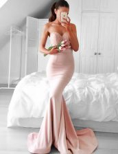 Mermaid Pink Sweetheart Neckline Lace and Sashes ribbons Prom Dresses Sleeveless Zipper