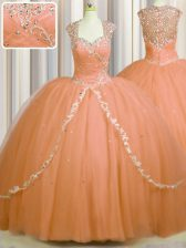 See Through Back With Train Orange Sweet 16 Dresses Tulle Brush Train Cap Sleeves Beading and Appliques