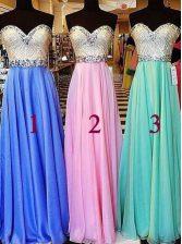 Blue A-line Beading Prom Evening Gown Zipper Chiffon Sleeveless Floor Length
