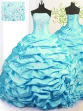 Fashion Strapless Sleeveless Ball Gown Prom Dress With Train Sweep Train Beading and Pick Ups Aqua Blue Taffeta