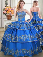 Blue Lace Up Vestidos de Quinceanera Beading and Embroidery and Ruffled Layers Sleeveless Floor Length