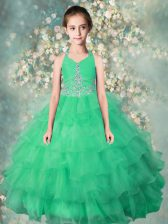Hot Selling Halter Top Floor Length Zipper Little Girl Pageant Dress Teal for Party and Wedding Party with Beading and Ruffles