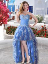Sophisticated Blue Sleeveless High Low Appliques and Ruffles Lace Up Prom Dresses