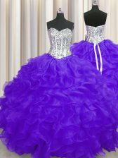 Extravagant Purple Sleeveless Organza Lace Up 15th Birthday Dress for Military Ball and Sweet 16 and Quinceanera