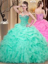 Super Pick Ups Sweetheart Sleeveless Lace Up Sweet 16 Quinceanera Dress Apple Green Organza