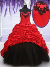 Elegant Red And Black Sleeveless Brush Train Appliques and Pick Ups With Train Quinceanera Dresses
