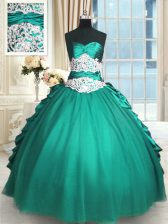 Turquoise Taffeta and Tulle Lace Up Sweet 16 Quinceanera Dress Sleeveless Floor Length Beading and Lace and Appliques and Ruching