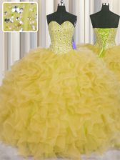 Visible Boning Sleeveless Floor Length Beading and Ruffles and Sashes ribbons Lace Up Vestidos de Quinceanera with Yellow